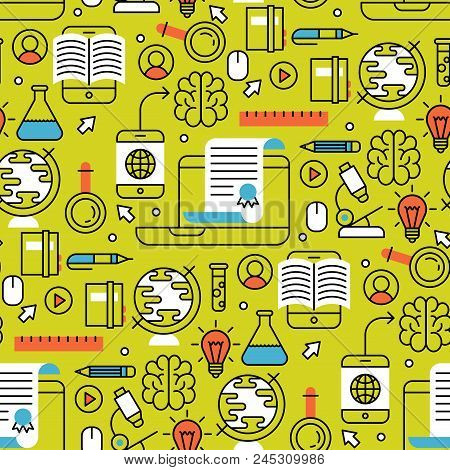 Online Learning Flat Design Distant Education Seamless Pattern Background Training Store Learning Re