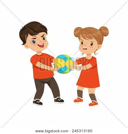 Boy And Girl Fighting For The Ball Vector Illustration Isolated On A White Background.