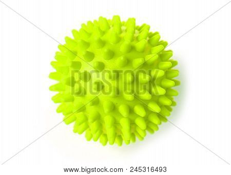 Green Colorful Bright Isolated Spiky Ball Toy, Macro