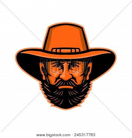 Mascot Icon Illustration Of Head Of A General Ulysses S. Grant, An American Soldier, Statesman, Comm