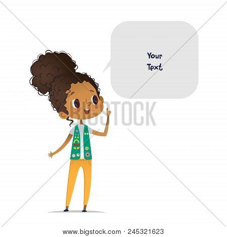 Young Smiling African American Girl Scout Dressed In Uniform With Badges And Patches And Speech Bubb