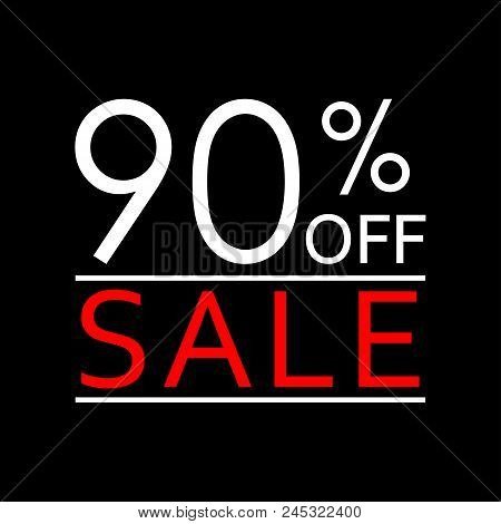 90% Off. Sale And Discount Price Icon. Sales Tag Design Template. Vector Illustration.