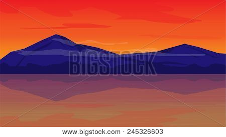 Orange Sky In Evening With Mountain Landscape Background;beautiful Place In Evening;landscape Vector