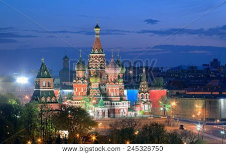View At Dusk On The Monument Of Russian Architecture And A Unesco World Heritage Site - Cathedral Of