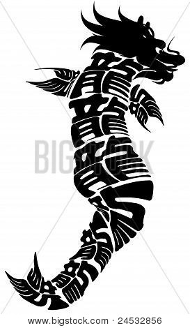 Chinese Dragonfish Black Clipart Isolated on White Background Illustration poster