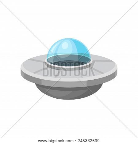 Cartoon Icon Of Alien Flying Saucer Isolated On White Background. Big Martian Spacecraft. Extraterre