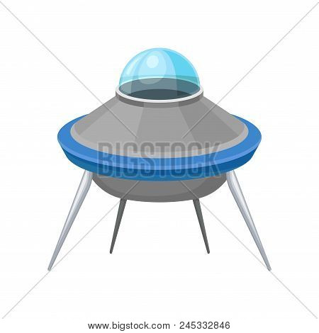 Futuristic Saucer Shaped Flying Craft. Extraterrestrial Space Ship. Big Alien Spacecraft With Four L