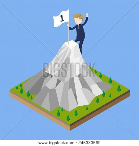 Businessman Climbing Mountain, Business Man Holding Flag Atop Peak, For Top Winner Trophy Concept We