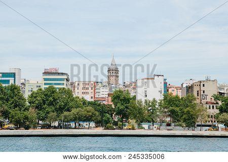 Istanbul, June 17, 2017: Beautiful View Of The European Part Of Istanbul Against The Beautiful Blue