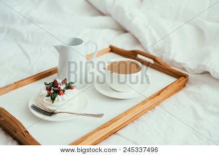 Cozy Home Breakfast In Bed In White Bedroom Interior With New Linen Bedding