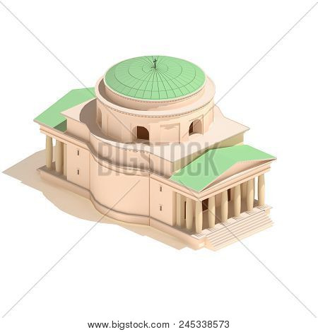 Flat 3d Model Isometric Christian Church Icon Building Illustration Isolated On White Background