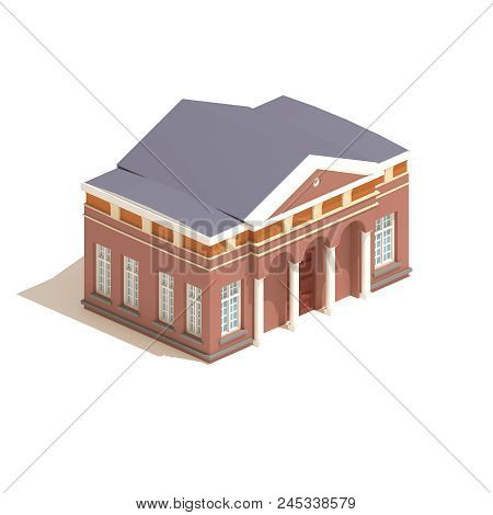 Flat 3d Model Isometric City Hall Or University Building  Illustration Isolated On White Background.