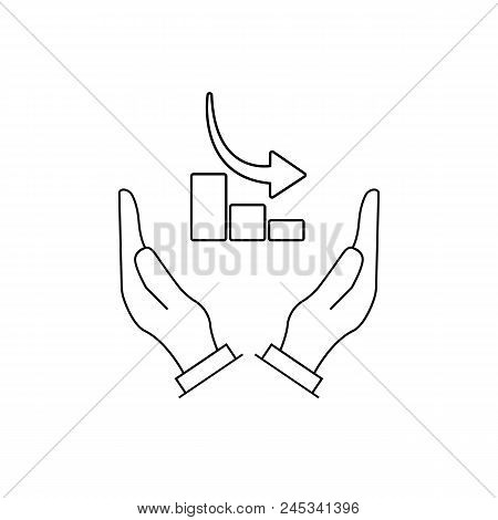 Graph Chart Down Icon On The Hands. Isolated Vector Illustration On White Background