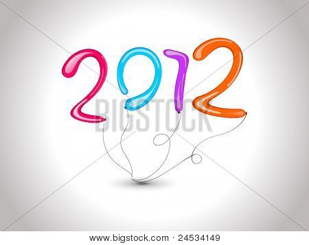 illustration for new year with stylish colorful balloon text