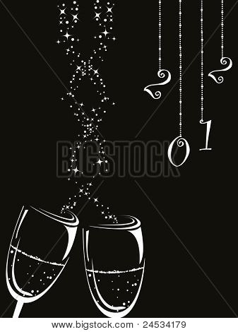 hanging 2012 with champagne glass on black background