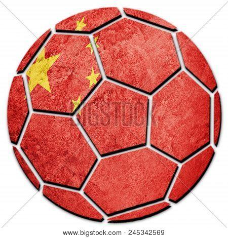Soccer Ball National China Flag. Chines Football Ball.