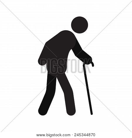 Old Man Going With Walking Stick Silhouette Icon. Grandfather With Cane. Isolated Vector Illustratio