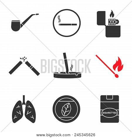 Smoking Glyph Icons Vector & Photo (Free Trial) | Bigstock