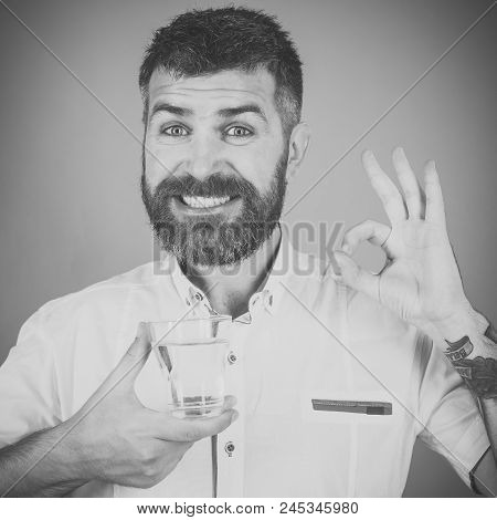 Water Pledge Is Healthy. Happy Hipster Drink Clean Healthy Water With Ok Gesture, Refreshing. Man Wi