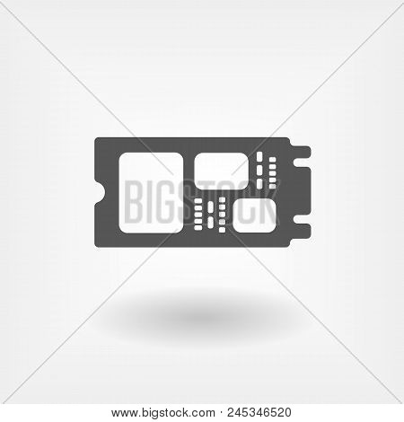 M.2 Solid State Drive in flat design. SSD vector icon poster