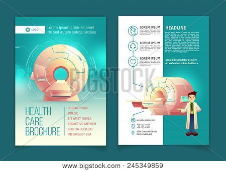 Vector Medical Examination Brochure, Health Care Concept With Cartoon Mri Scanner For Tomography And