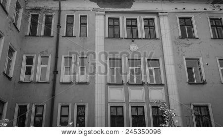 Old Abandoned Hospital. Medical Complex. Old Architecture. Historical Heritage. Building Fragment. G