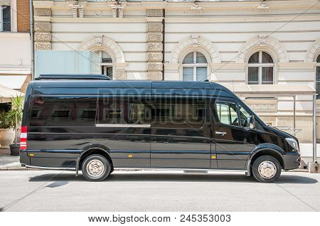Mercedes Benz Sprinter Black Luxury Shuttle Bus Van Parked On The Street. June - 12. 2018. Novi Sad,