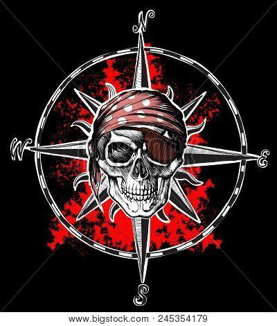 Pirate Symbol Jolly Roger Skull On Background Wind Rose And Red Blood Blots