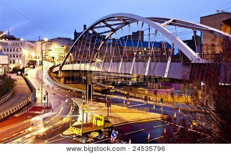 Sheffield Tram Bridge And Lines By Night