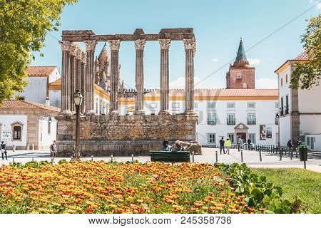 Architectural Detail Of The Roman Temple Of Evora In Portugal Or Temple Of Diana