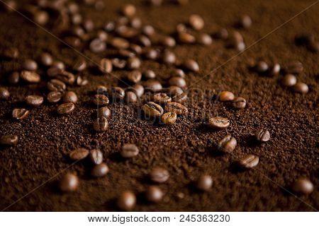 Coffee Beans On Coffee Powder. Macro Shot