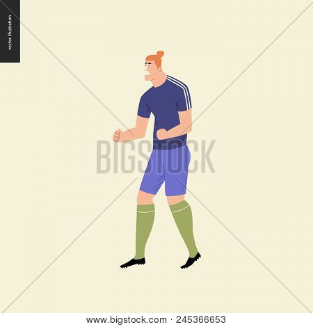 European Football, Soccer Player - Flat Vector Illustration Of A Soccer Player Winning A Victory - A