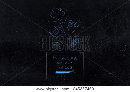 Be The Best At Work Conceptual Illustration: Knowledge Skills Expertise Loading Pop-up With Office I