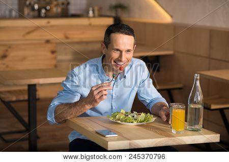 Handsome Businessman Having Lunch In Cafe Eating Fresh Salad