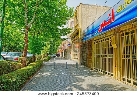 Isfahan, Iran - May 8, 2015: Quiet Ostandari Street With The Closed Shops During The Afternoon Break
