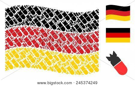 Waving German Flag. Vector Aviation Bomb Elements Are Placed Into Conceptual Germany Flag Collage. P