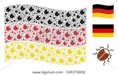 Waving German Official Flag. Vector Bug Elements Are Organized Into Geometric German Flag Abstractio