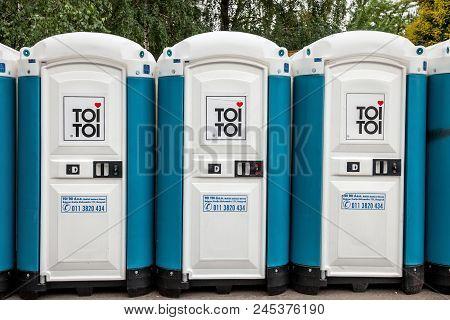 Pancevo, Serbia - June 9, 2018: Toi Toi Portable Toilets With Their Iconic Logo. Toi Toi Is One Of T