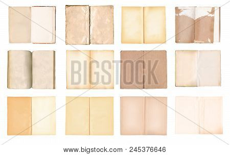 Old  Open Books Set Isolated On White Background