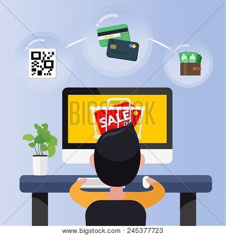 Happy Young Man Sit In Front Computer With Online Sale Promotion And Cart Icon. Online Shopping Conc
