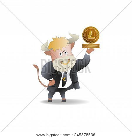 Bull Businessman Demonstrates Litecoins. The Trader. Cryptography, An Illustration Of Financial Tech