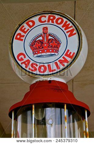 Bismarck, North Dakota: May 22, 2018: The Gas Pump And Sign Advertises Red Crown Gasoline, Once A Pr