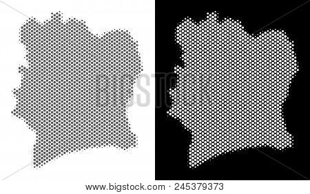 Halftone Round Spot Ivory Coast Map. Vector Territory Maps In Gray And White Colors On White And Bla