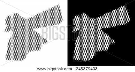 Halftone Circle Blot Jordan Map. Vector Territory Maps In Gray And White Colors On White And Black B