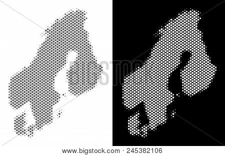 Halftone circle blot Scandinavia map. Vector territory maps in grey and white colors on white and black backgrounds. Abstract collage of Scandinavia map created of circle blots. poster