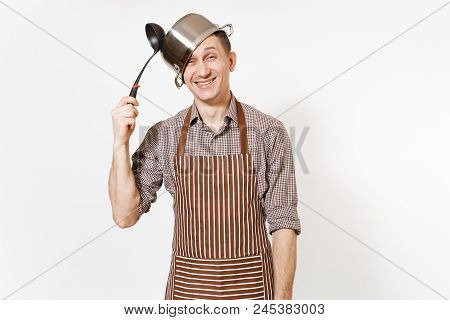 Fun Mad Man In Striped Apron With Ladle, Silver Stainless Glossy Aluminium Empty Stewpan, Pan Or Pot
