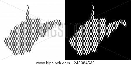 Halftone Round Spot West Virginia State Map. Vector Territory Maps In Grey And White Colors On White