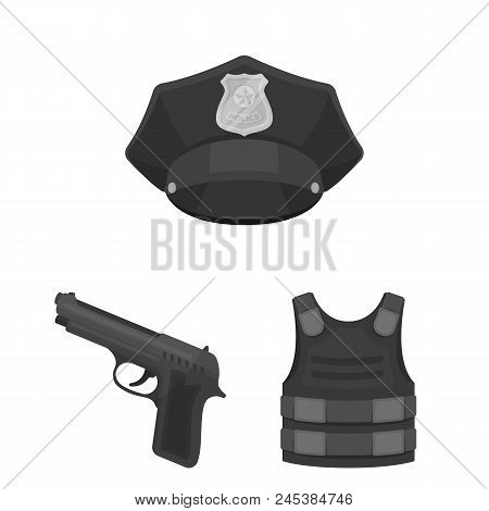 Police, Department Monochrome Icons In Set Collection For Design.detective And Accessories Vector Sy