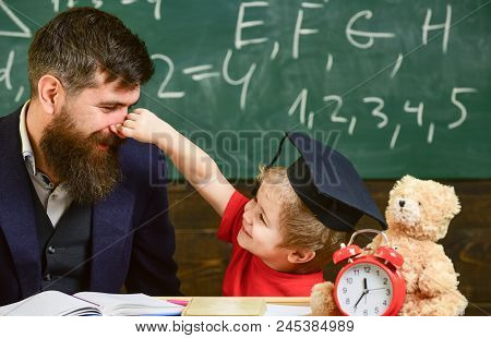 Playful Child Concept. Kid Cheerful Play With Dad. Father With Beard, Teacher Teaches Son, Little Bo