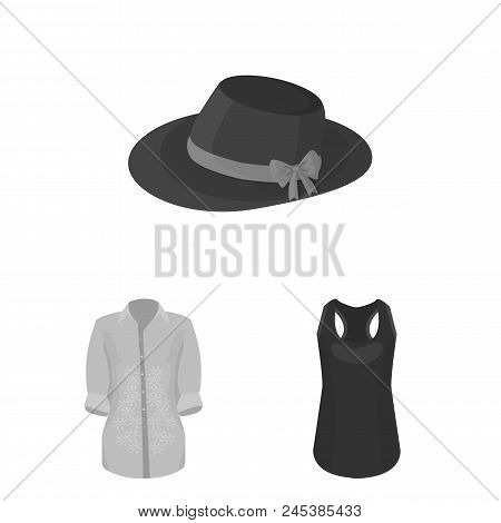 Women's Clothing Monochrome Icons In Set Collection For Design.clothing Varieties And Accessories Ve